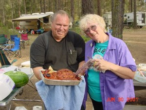 Kens Meatloaf,Ken KD7DDQ & Charlene KC7RQF, KBARA 2001 Campout at Riverside State Park Spokane WA